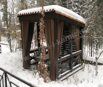 Шторы в беседку зимой КП Маленькая Италия